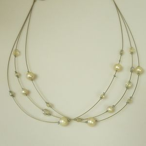 Lia Sophia beaded and wire faux pearl necklace